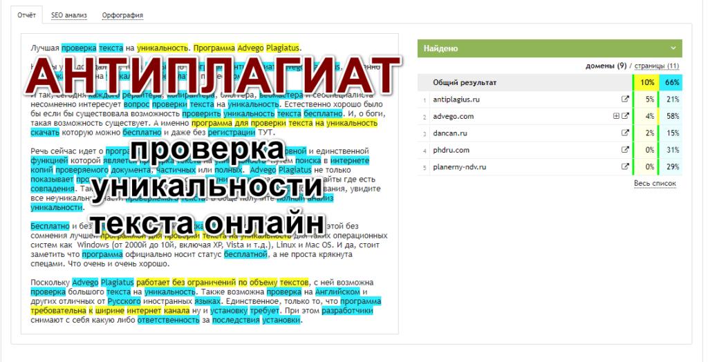 Антиплагиат Адвего. Проверка уникальности текста онлайн